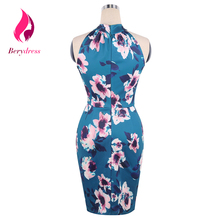Retro 1950s Women Sexy Wedding Print Party Dress Halter Sleeveless Cocktail Night Club Bodycon Girls Summer Casual Dresses 2017