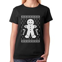 Fashion T Shirt Hipster Cool Tops Gingerbread Ugly Christmas Cookie Sweater S Crew Neck Short Sleeve