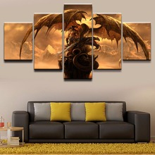 Wall Art HD Printed Poster Framed Home Decor 5 Pieces Dragon Fantasy Sword Warrior Canvas Paintings Modern Boys Room Pictures