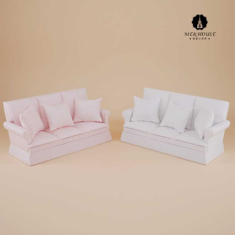 NEW Miniature Dollhouse sofa wooden mini toy doll house furniture soft settee with pillow 1:12 scale