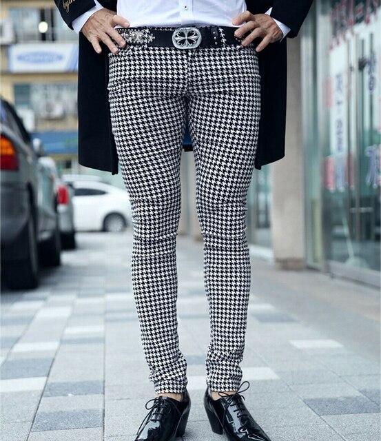 c3eba2df12fc New Men's Classic Houndstooth Check Skinny Fit Flat Front Casual Pants  Slacks Black White