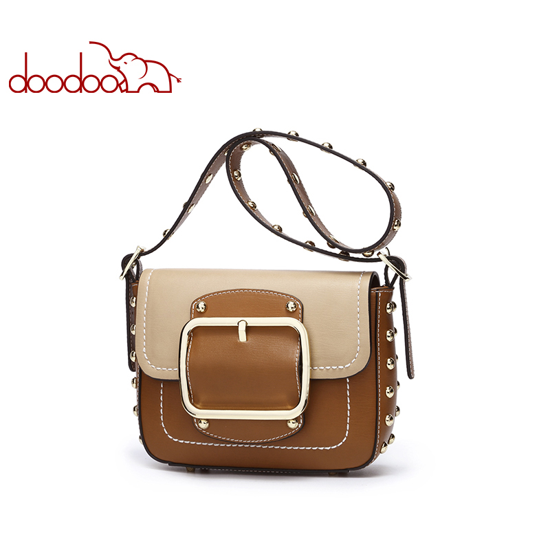 DOODOO Brand Women Bag Female Shoulder Crossbody Bags Ladies Artificial Leather Rivet 2019 Stitching Color Small