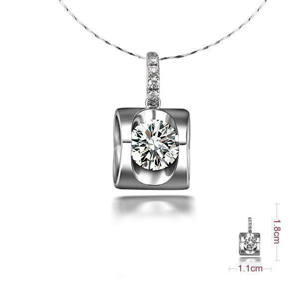 ZOCAI LET LOVE RULE 0.6 CT SI / I-J DIAMOND 18K WHITE GOLD FLOWER PENDANT + 925 STERLING SILVER CHAIN NECKLACE