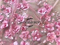 1 Yard Dusty Pink 3D Beaded Blossom Tulle Embroidery Lce Fabric by Yard ,DIY Sewing Fabric Prom Dress Couture Fabric 130cm wide