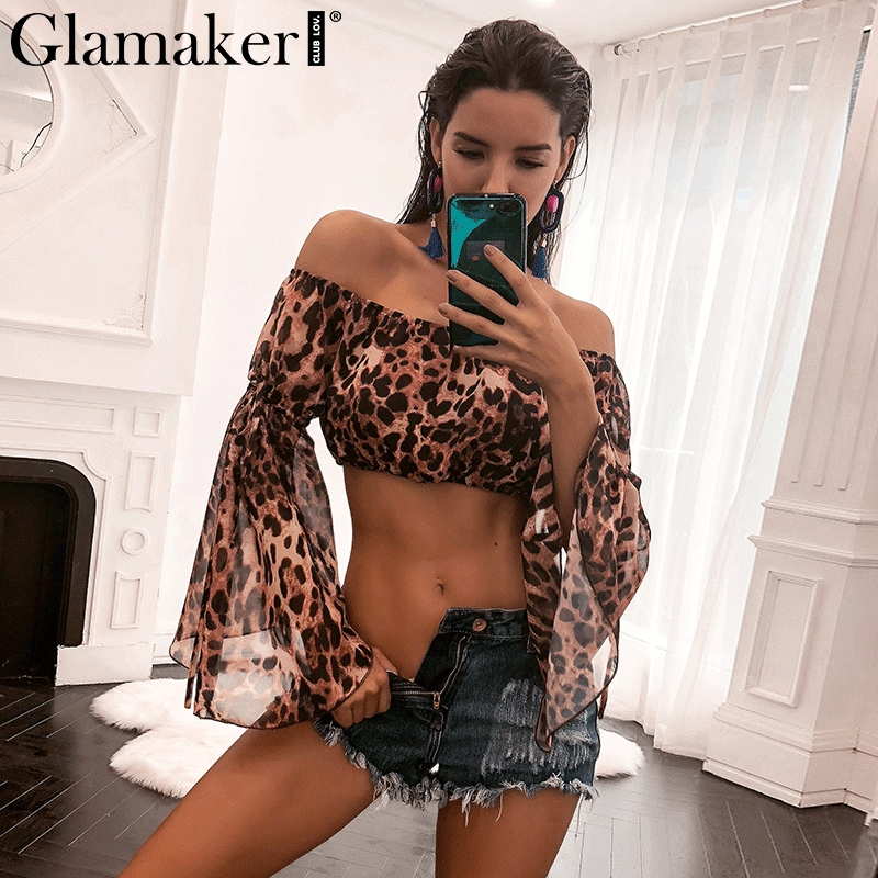Glamaker Off shoulder leopard sexy blouse shirt Elastic flare sleeve chiffon blouse women Summer crop top evening party clothes