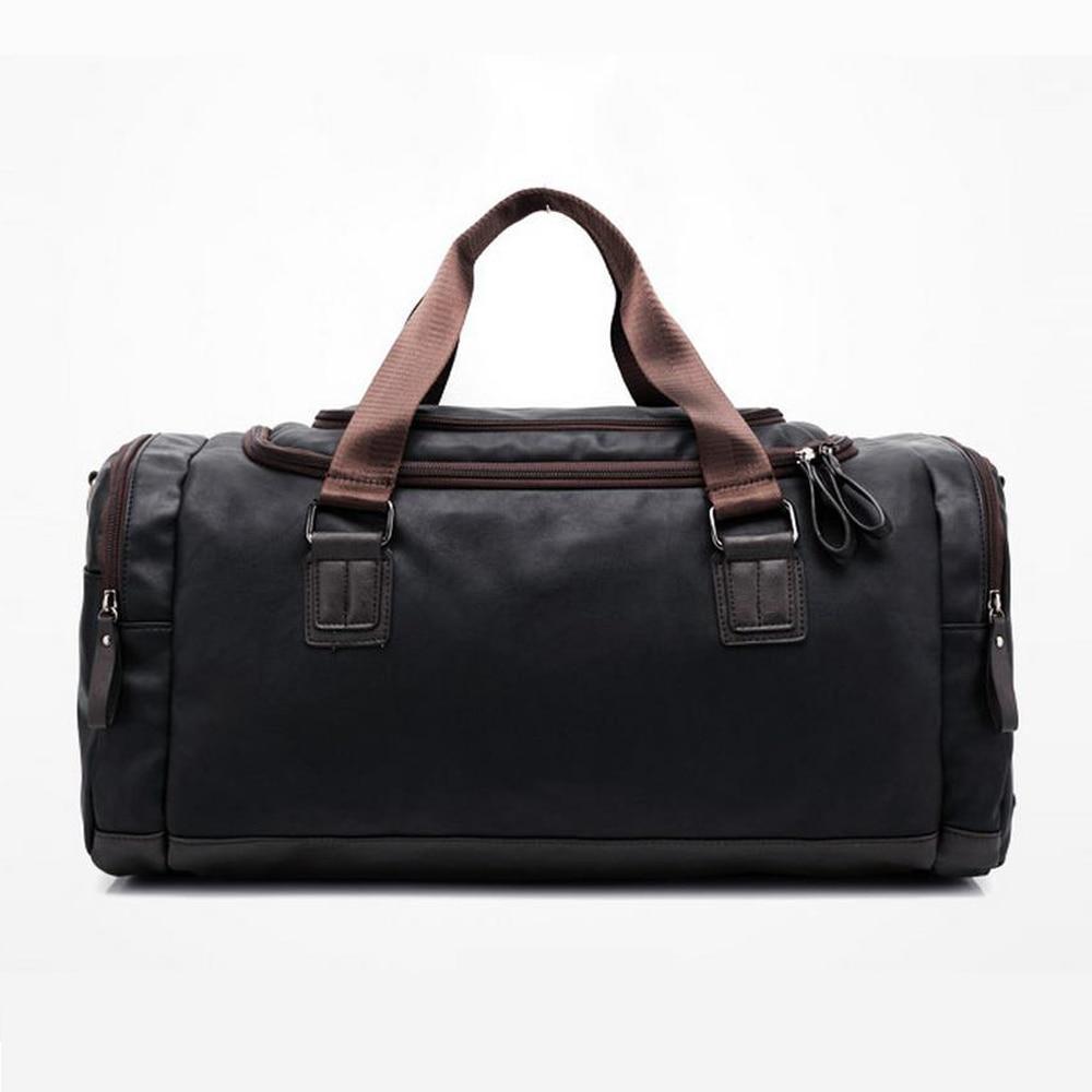 New high qual PU leather travel bag Men duffel bag large capacity bags with shoulder Strap shoulder bag leahter Handbag for Male 4
