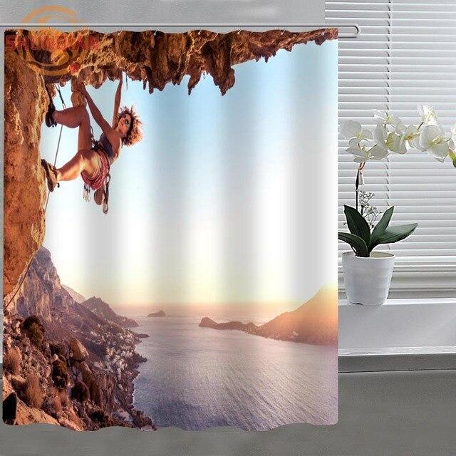 Extreme Sports rock climbing Custom Shower Curtain Fabric ...