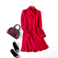 2017 Autumn Women High Quality Red Black Bow Neck Long Sleeve Silk Dress Ladies Brief Elegant