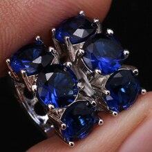 Яркие модные синие 925 серебро Huggie Серьги-кольца для Для женщин Бесплатная доставка горячие ювелирные изделия мешок S0852