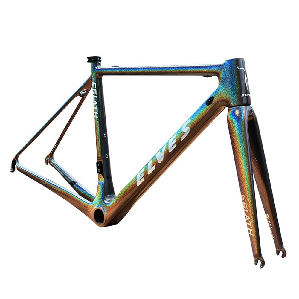 где купить elves Bicycle Frame Light-sensitive color Carbon Road Bike Frame Super Light carbon Climbing road Frame+Fork+headset дешево