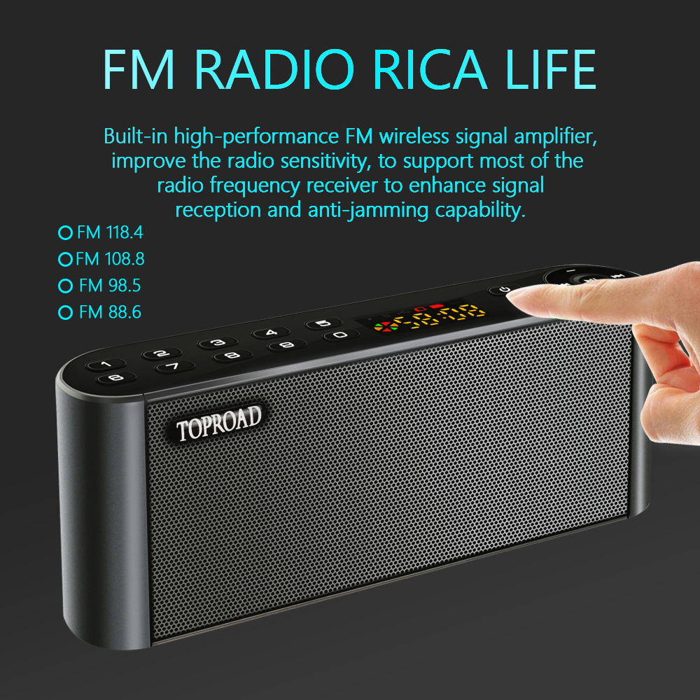 TOPROAD HIFI Wireless Bluetooth Speaker With Super Bass Dual Speakers Soundbar And FM Radio 2