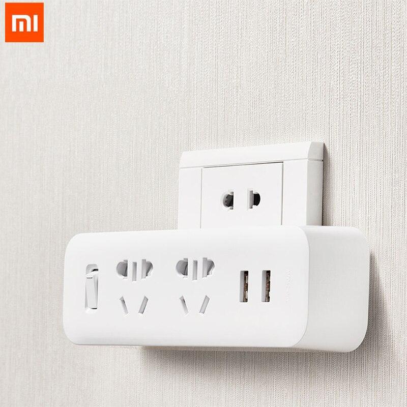 D'origine Xiaomi Mijia Puissance Convertisseur De Bande Portable Plug Voyage Adaptateur pour La Maison Bureau 5 V 2.1A 2 Sockets 2 USB Rapide de charge