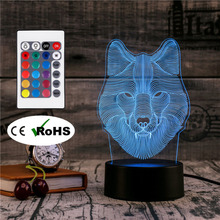 3D Led Novety Lighting Creative Gift Night Light  Table Lamp Bedside Wolf Light Led Home Corridor Hotel Party Atmosphere Lights
