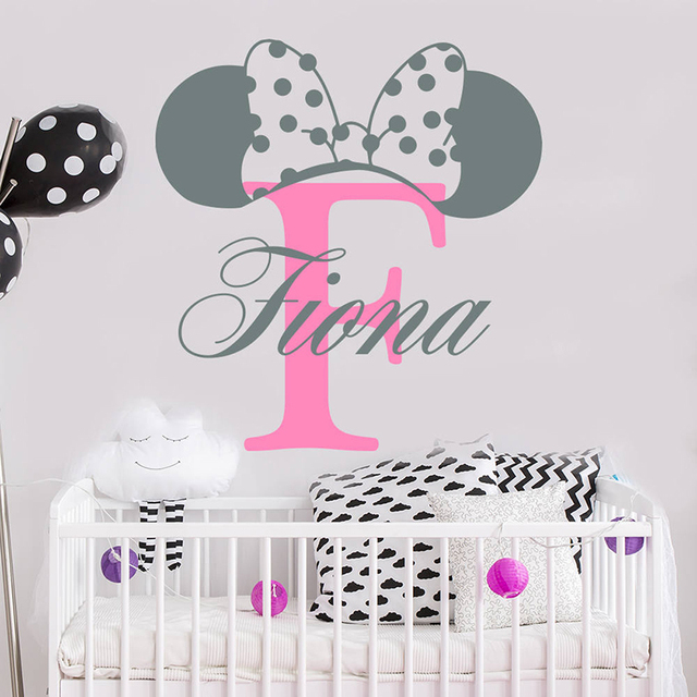 YOYOYU Minnie Mouse Ears Personalised Girl Name Vinyl Wall Stickers For Kids...