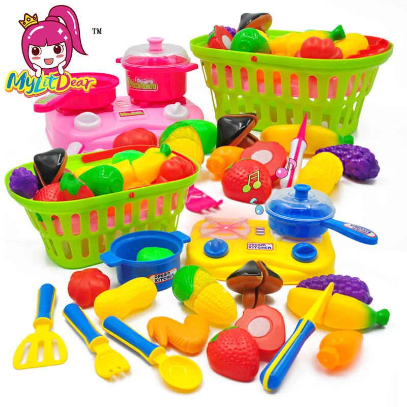 MylitDear Food Kitchen Toys Cut Fruit Toys Plastic Food Toy Vegetable Cutting Pretend Play Kids Kitchen Children Educational Toy