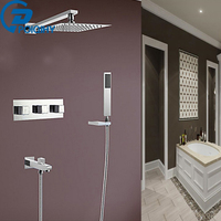 POIQIHY Wholesale And Retail Thermostatic Waterfall Rain 10 Shower Faucet & Hand Shower Three Handles