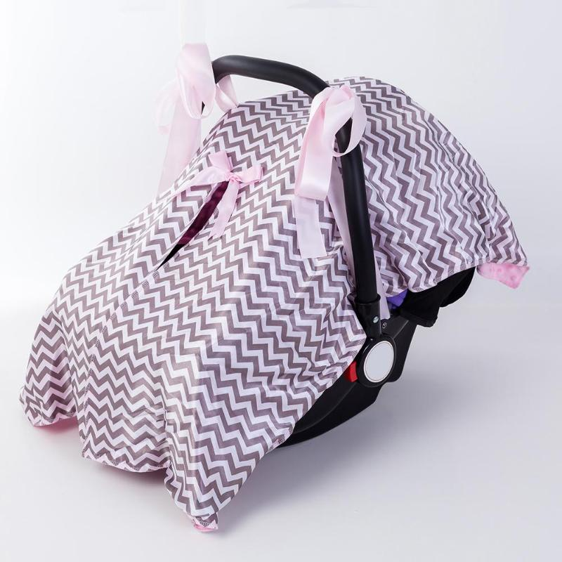 sozzy Baby Car Sunshade Cover Infants Cute Car Seat Canopy Sunshade Trolley Cover Open Shade Bowknot Cotton Cloth Accessory