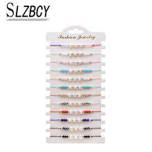 12pcs/Sets Pearl Crystal Beaded Charms Bracelets & Bangles for Women