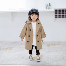 Girls Long Outerwear  Autumn Khaki Solid Children Windbreaker Coats For Boys Girls Double-breasted Baby Trench Outerwear E0318 стоимость