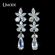 UMODE Fashion Jewelry Top Quality AAA Cubic Zirconia Flower Dangle Drop Earrings For Women Party Bijoux