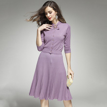 Для женщин осень-весна модные взлетно-посадочной полосы улица Стиль элегантный Комплект из 2 предметов вязаный свитер + плиссированные юбки тонкий Бисер вязать Twin Set