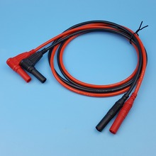1 пара красный и черный силиконовый изолированный Безопасный 4 мм Мужской правый угол к прямой банановый кабель Разъем мультиметр Тестовые провода