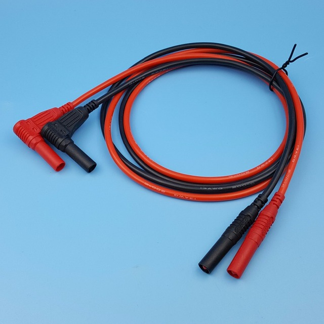 1Pair Red and Black Silicone Insulated Safety 4mm Male Right Angle ...