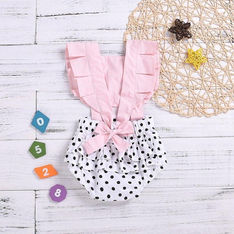 Toddler Infant Baby Girls Romper Summer Fly Sleeve Ruffles Ribbons Dot Romper Jumpsuit Clothes Ensemble Fille Meisjes Kleding