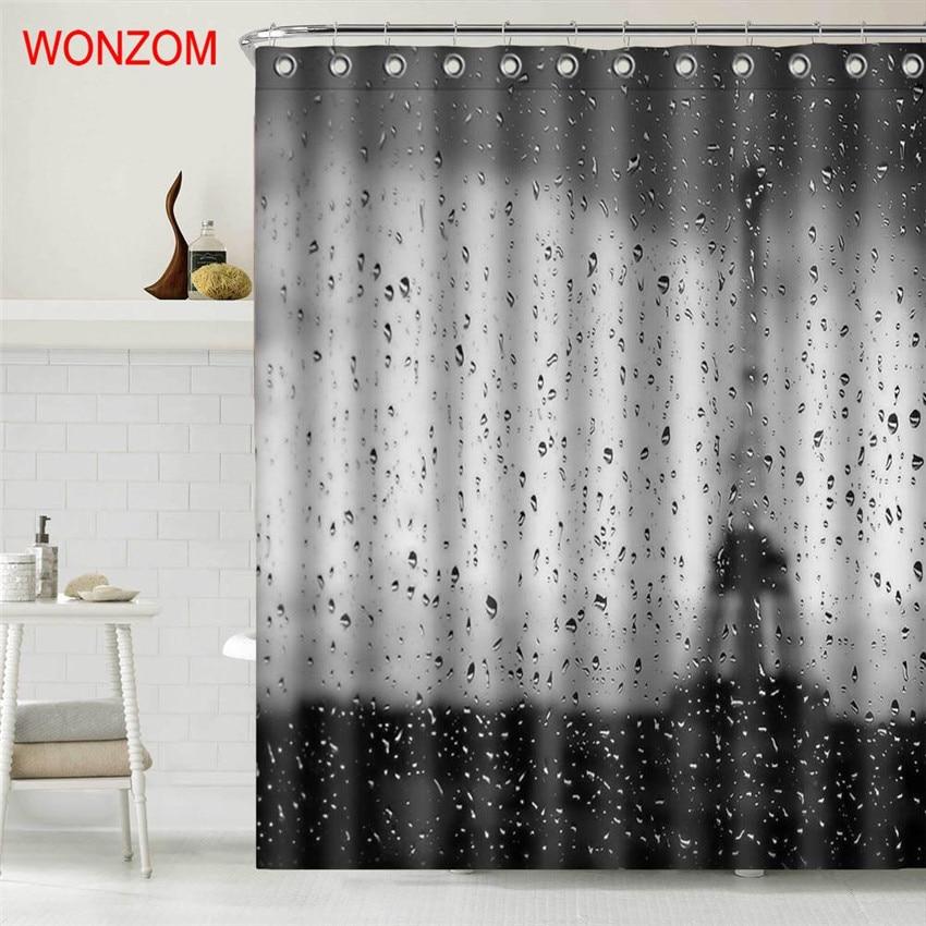 WONZOM Rain Eiffel Tower Polyester Fabric Paris Shower ...