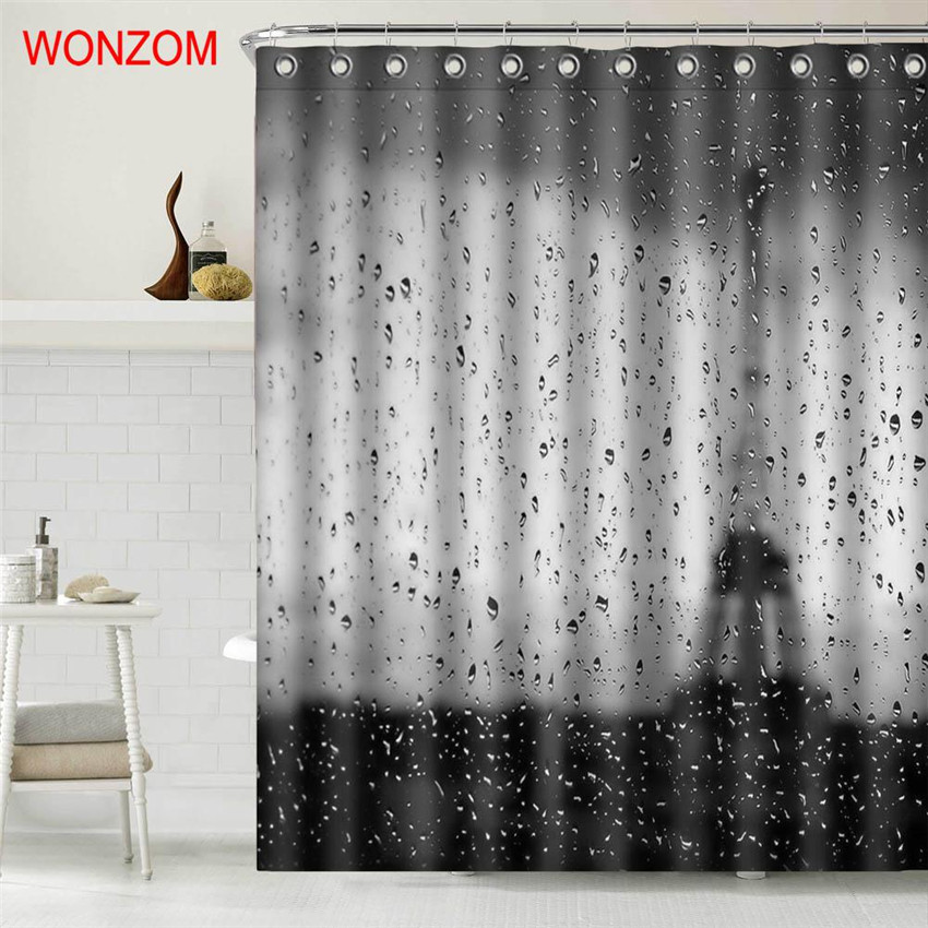 WONZOM Rain Eiffel Tower Polyester Fabric Paris Shower Curtain Bathroom Decor Waterproof Cortina De Bano With Hooks 2017 Gift