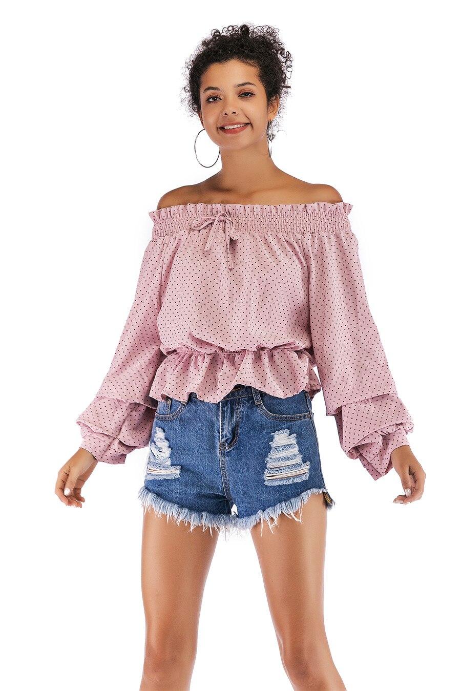 Gladiolus Chiffon Blouse Women 2019 Spring Autumn Long Sleeve Polka Dot Off Shoulder Sexy Blouses Women Shirts Ruffles Blusas (27)
