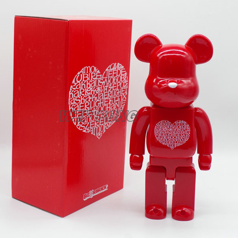 Bearbrick Be@rbrick Red Love heart Doll figure Toy 400% PVC Action Figure Bearbrick Fashion Collection Model Toys Gift 28CM