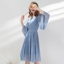 AcFirst Summer Women Blue Chiffon Dots A-Line Dress Party Holiday Ruffles Lady Sexy Plus Size Plaid Sweet Dresses