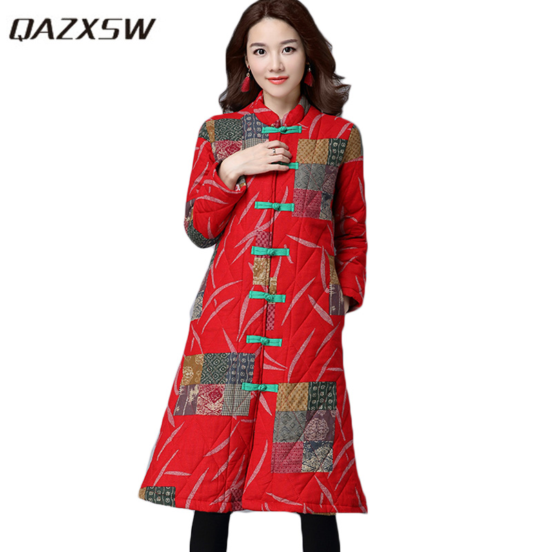 QAZXSW 2017 New Vintage Winter Cotton Coat Women National Print Winter Jacket Padded Jacket Plus Size Casacos Femininos HB268 qazxsw new winter cotton coat hooded padded women parkas mujer invierno 2017 winter jacket women warm casacos femininos hb221