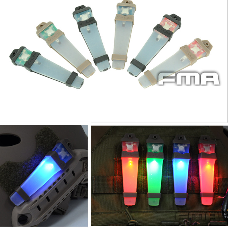 Prix pour FMA Airsoft V-Lite Sécurité LED Signal Flash Light avec Magic Tape Soutenu Tactique Casque Survie Casque Lumières