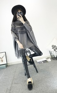 Image 2 - New Fashion Autumn And Winter Women High Collar Real Rabbit Fur Cloak Pullover Lady Bat Sleeves Tassel Poncho Sweater Knitwear