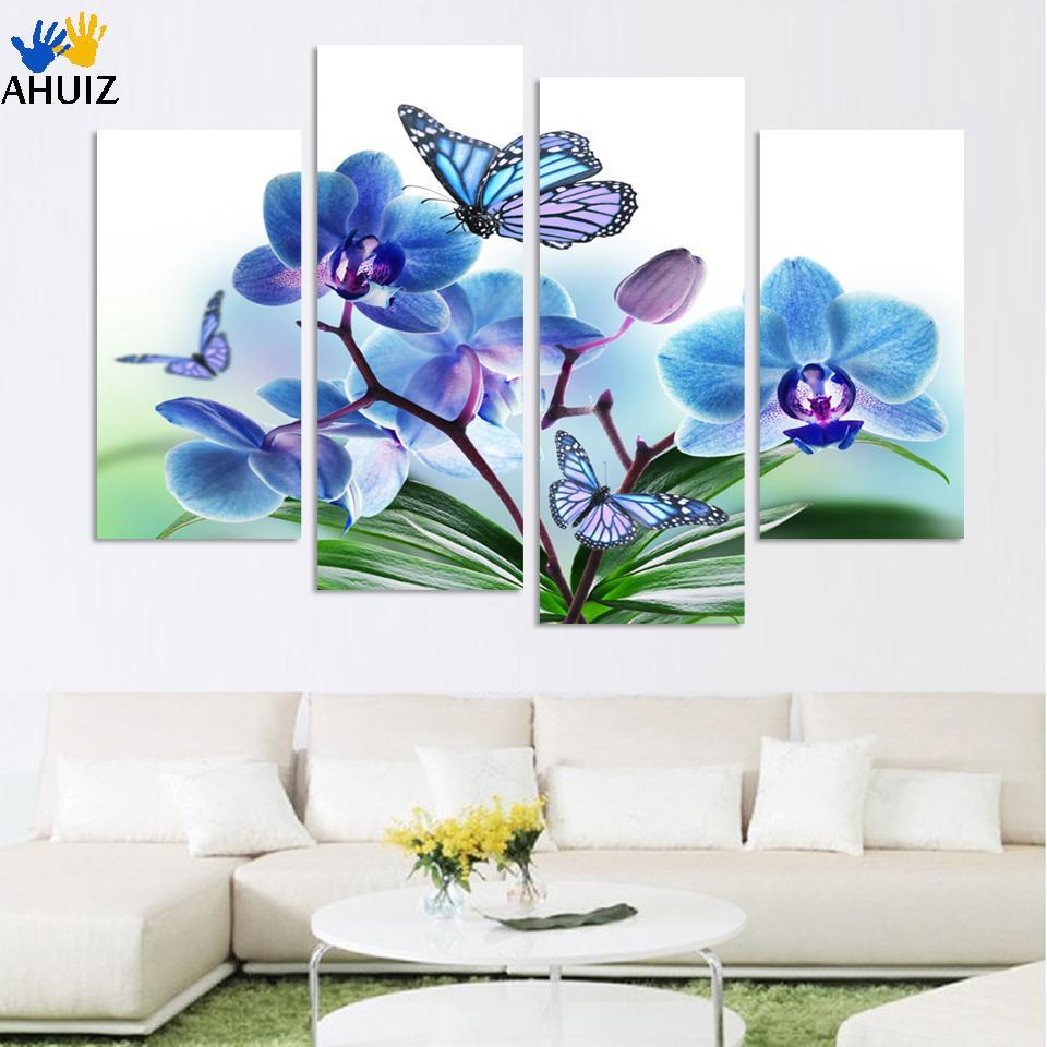 4pcs bluepurple butterfly orchid home decor canvas painting living room paint wall hanging art