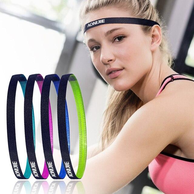 caa2b065c621 Fashion Women Sweatbands Football Yoga Color Hair Bands Anti-slip Elastic  Rubber Thin Sports Headband