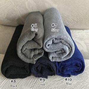 Image 5 - Hijab arrugado de viscosa para mujer, pañuelo para la cabeza, Mantón largo, islámico, Malasia, 1 unidad, 90x180cm