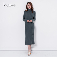 Riokeke 2018 Длинные рукава водолазка вязаный свитер женское платье женские длинные осенние платья однотонные теплые Повседневное зимнее платье