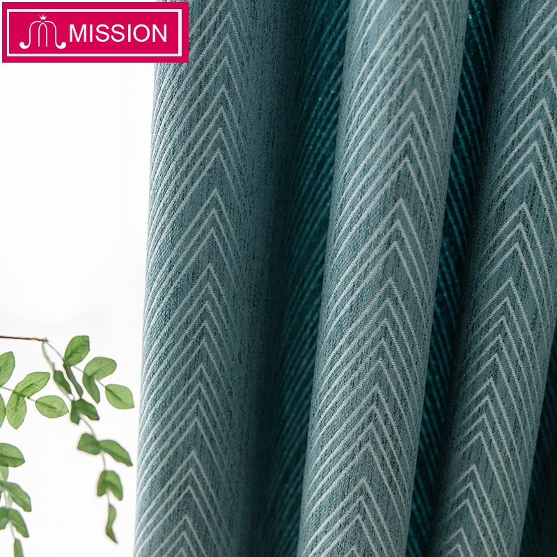 MISSION Luxurious Chenille Jacquard Geometric Pattern Window Blackout Curtains Drapes Blinds for Living Room Bedroom Custom Made(China)
