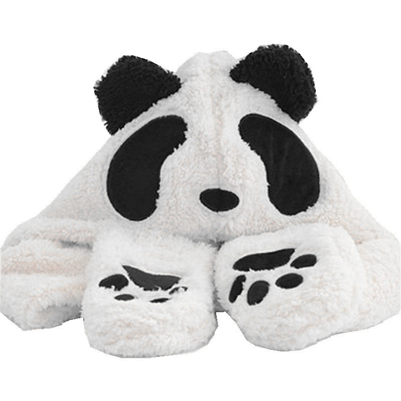 Panda Cartoon Animal Plush Hat Children's Winter Warm Cap Combined Scarf and Glove