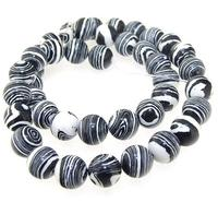 Unique Pearls jewellery Store Round White Black Malachite Jadper Gemstone 10mm 15'' Full One Strand LC3 233