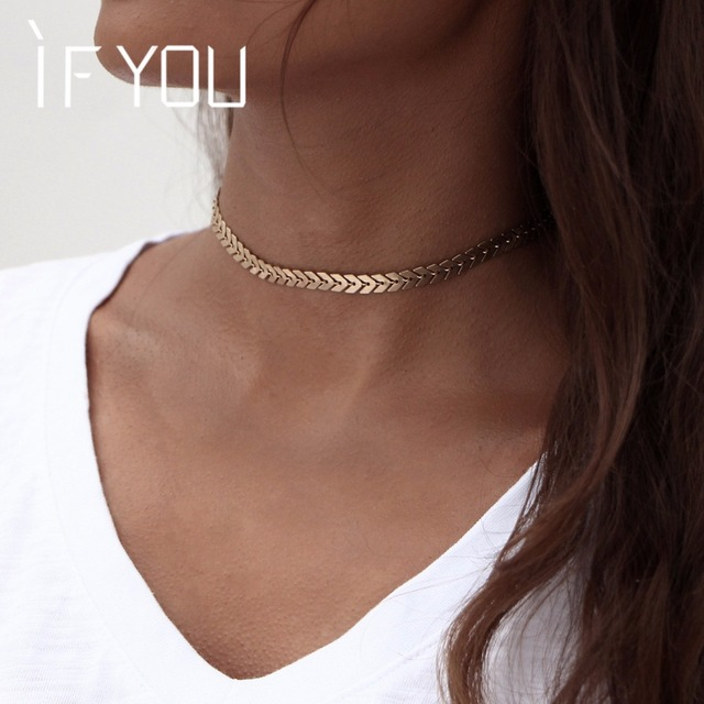 IF YOU Fashion Short Arrow Leaf Choker Necklaces Gold Color Trendy African Jewelry Statement Necklace Women Jewelry 2017 New 1