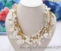 5 Strands 18 white biwa dens / coin / baroque keshi reborn pearl necklace