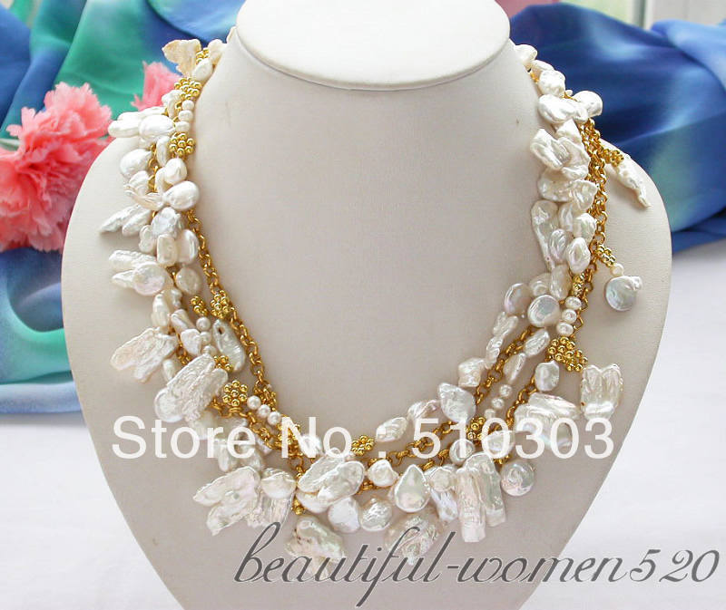 5 Strands 18 white biwa dens / coin / baroque keshi reborn pearl necklace