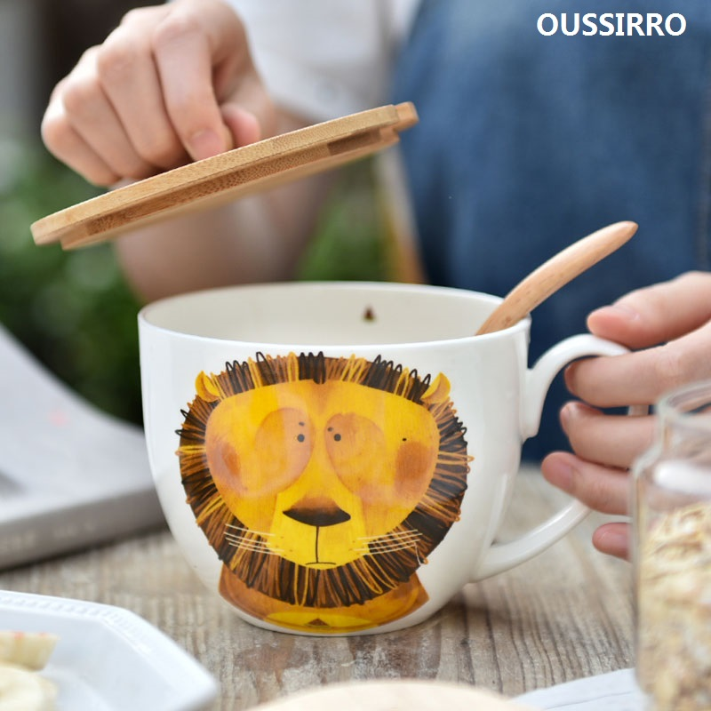 Креативная керамическая кружка 600 мл, чехол с изображением животного и ложки, специальная чашка с прорезями, чаша для завтрака, кружка для дома, офиса, необычный подарок, чайная поилка|Кружки|   | АлиЭкспресс