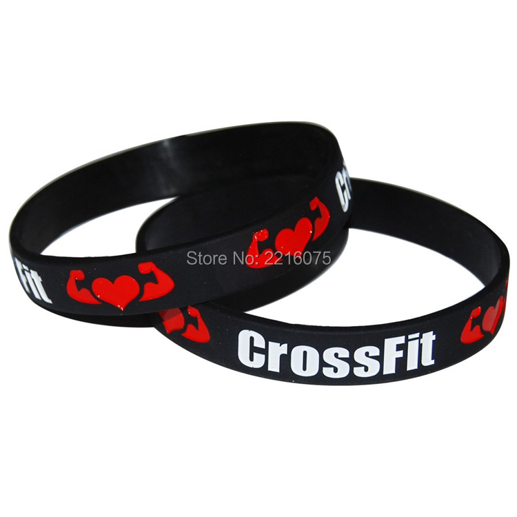 Red Black Inspirational Crossfit Rubber Training Workout Cross Fit Fitspo Fitness Bracelets Silicone Gym Wristbands