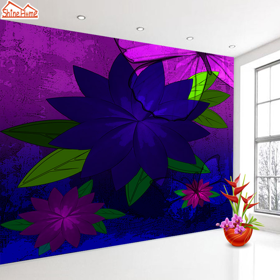 ShineHome-Purple Rose Bloom Oil Painting Style Wallpaper for 3d Rooms Walls Wallpapers for 3 d  Living Room Wall Paper Murals shinehome red rose bloom golden golden wallpaper for 3d rooms walls wallpapers for 3 d living room wall paper murals mural roll