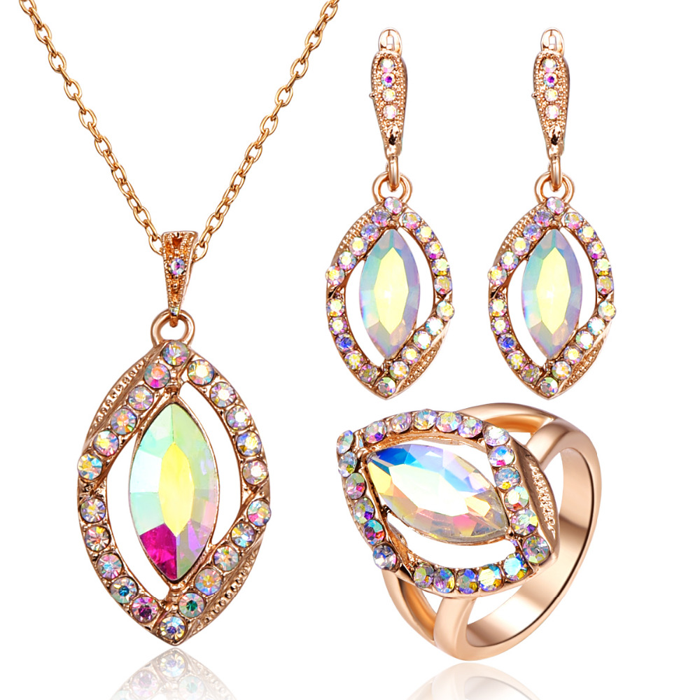 Luxury Colorful Crystal Jewelry Sets For Women Gold Color Full Rhinestone Geometric Pendant Necklace Earrings Ring Set chic rhinestone african plate shape pendant necklace and earrings for women